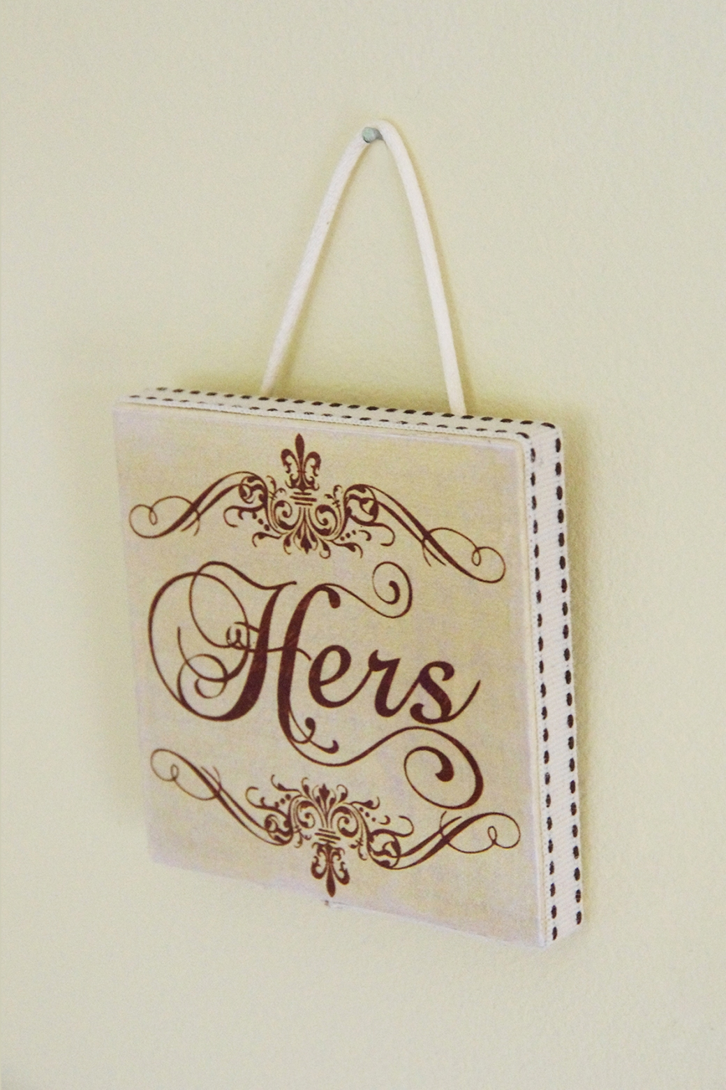 One of a pair of plaques. 'His and Hers'