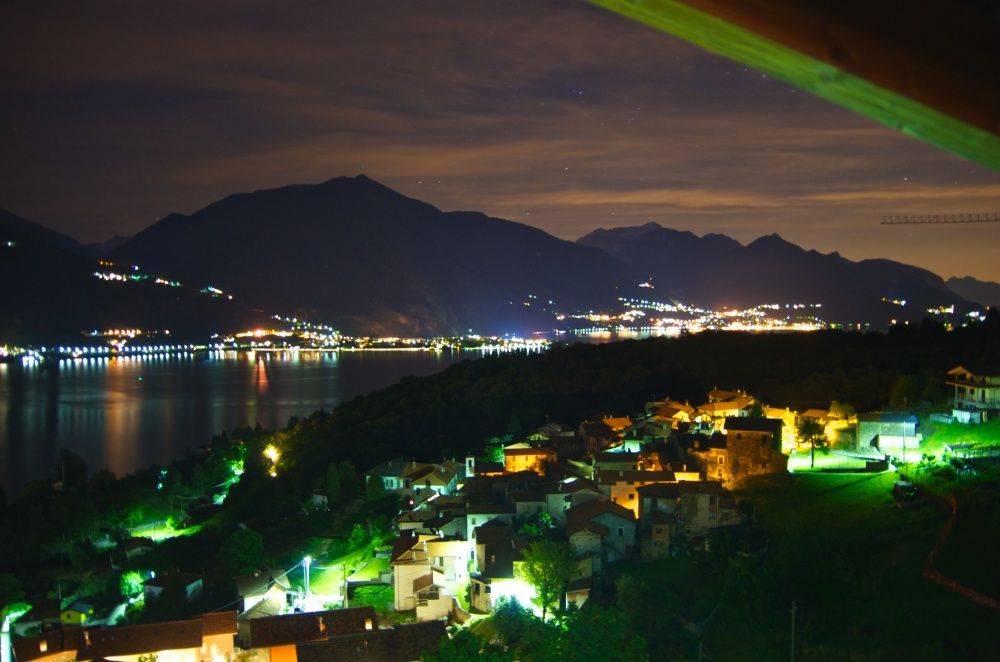 View from our apartment balcony, overlooking Lake Como at night - June 2014