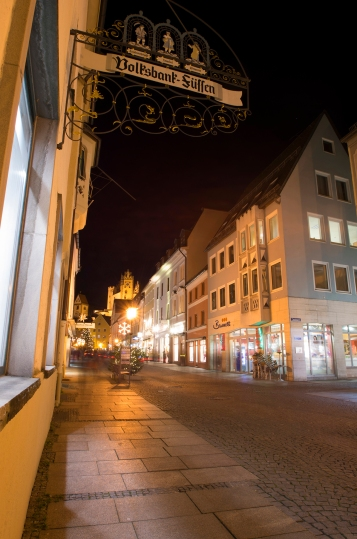 Füssen, Germany – Christmas 2016. Street view of Füssen.