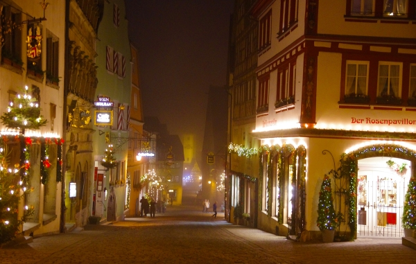Rothenburg ob der Tauber, Germany - Christmas 2016. There's hardly anyone around by 9 pm and then the mist begins to descend.