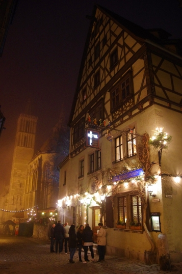 Rothenburg ob der Tauber, Germany - Christmas 2016. Very few people were on the streets after 9 pm but this hotel and bar seemed to be buzzing.