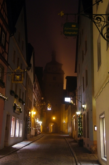 Rothenburg ob der Tauber, Germany - Christmas 2016. The empty streets and mist gives the town a completely different feel.