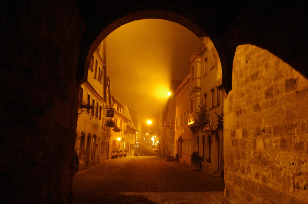 Rothenburg ob der Tauber, Germany - Christmas 2016. It's getting late here and the mist thickens. I can't help but think of Whitechapel, London and Jack the Ripper when I look at this photo.