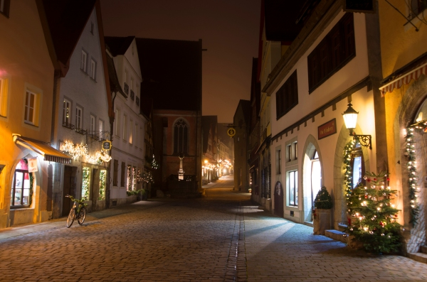 Rothenburg ob der Tauber, Germany - Christmas 2016. The streets are virtually empty of people by 10 pm.