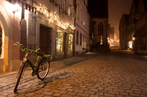 Rothenburg ob der Tauber, Germany - Christmas 2016. Rothenburg becomes eerily quiet when the shops close and the mist starts to blanket the town.