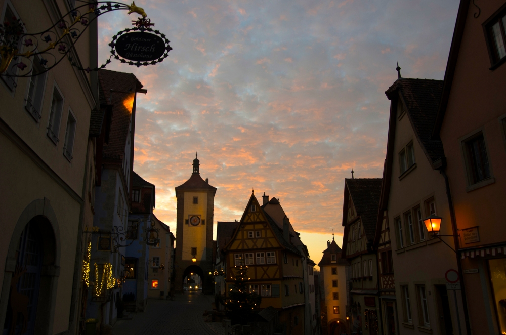 Rothenburg ob der Tauber, Germany - Christmas 2016. Beautiful morning sunrise on the last day of our trip.