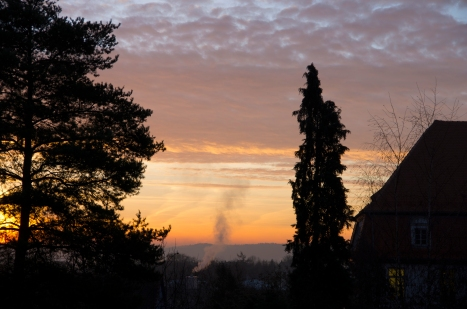 Rothenburg ob der Tauber, Germany - Christmas 2016. Sunrise from the battlements.