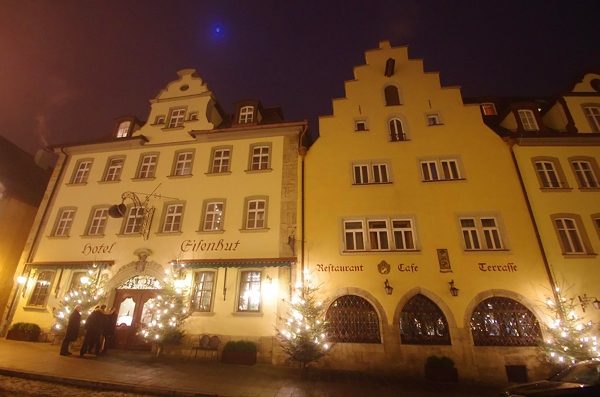 Rothenburg ob der Tauber, Germany - Christmas 2016. Our hotel as the mist begins to descend.
